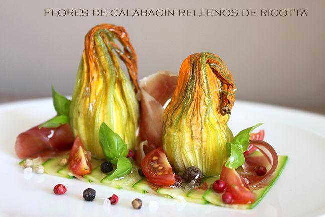 Flore de calabacín rellenas de ricotta y jamón                                                                                                                                                                                 Más