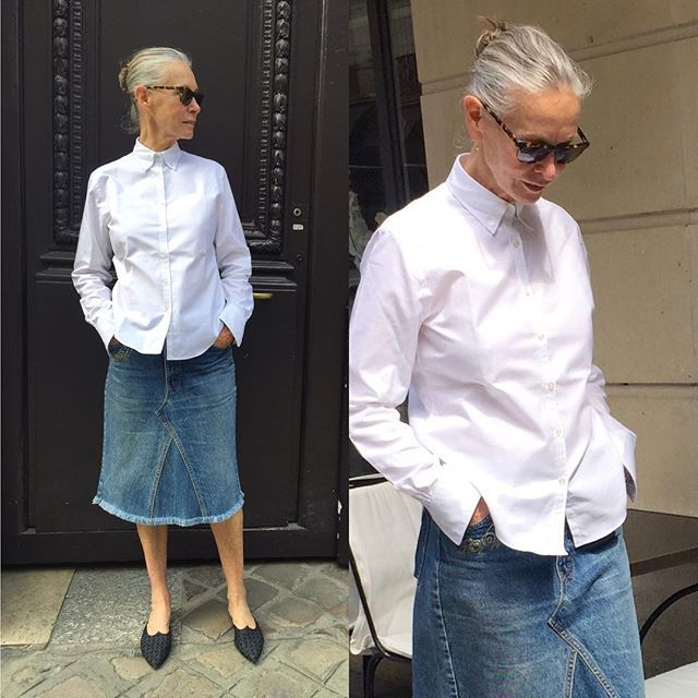 Saturday Simplicity. New white Oxford shirt in my shop....Crimson. Vintage jean skirt personalised with my initiales and my mules In denim from #TomasMaier
