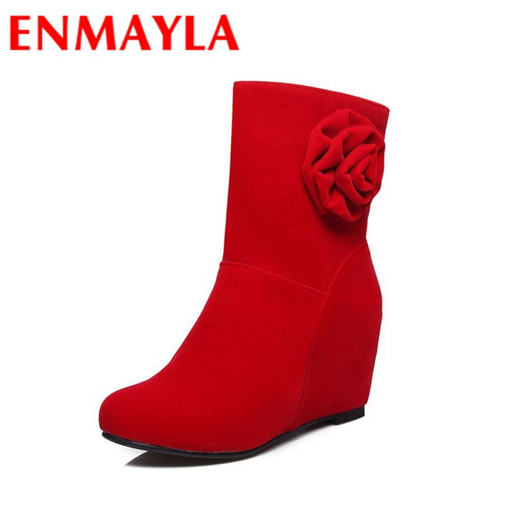 Find More Women's Boots Information about ENMAYLA Flowers Charms Shoes Woman High Heels Sexy Red Round Toe Slip on Mid calf Boots for Women Large Size 34 43 Winter Boots,High Quality boots for woman,China boots boots Suppliers, Cheap shoes woman from YQZ on Aliexpress.com