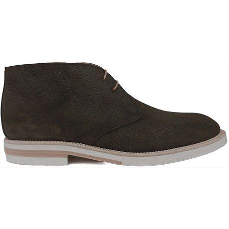 8478 zapato botín en ante grabado de color verde y con goma blanca de Calce   Calzados Garrido