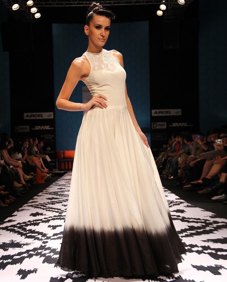Ombre Shaded Dress with Lace Yoke by Anita Dongre