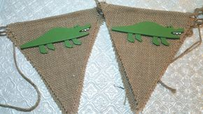 Crocodile or alligator themed wood cutouts burlap banner garland birthday party baby shower gender reveal 1st birthday zoo safari jungle Noah's Ark wedding retirement zookeeper Lacoste