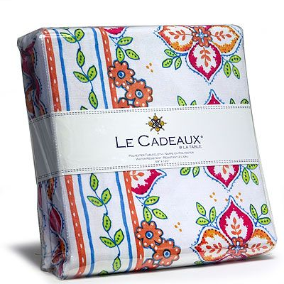 Le Cadeaux Water Resistant Tablecloth   Orange Blossom   69 X 69 In