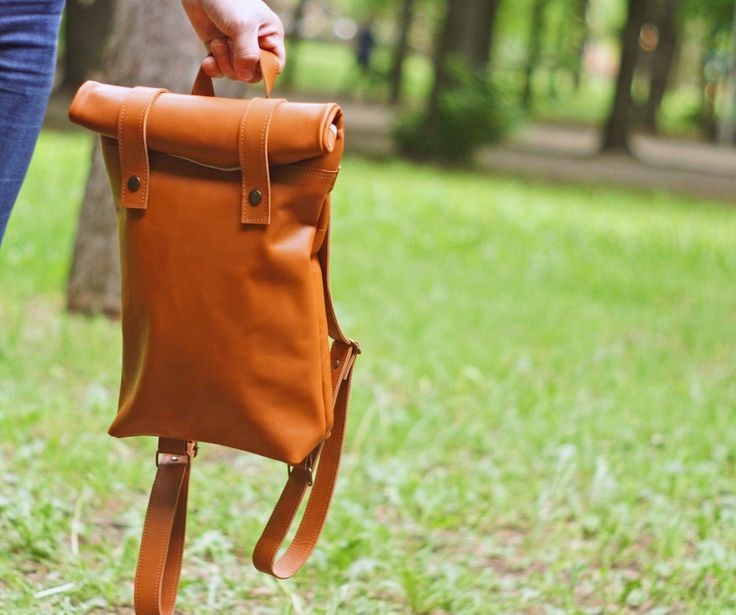 Roll top leather woman backpack for unisex \ brown genuine leather bag retro  #Handmade #Backpack