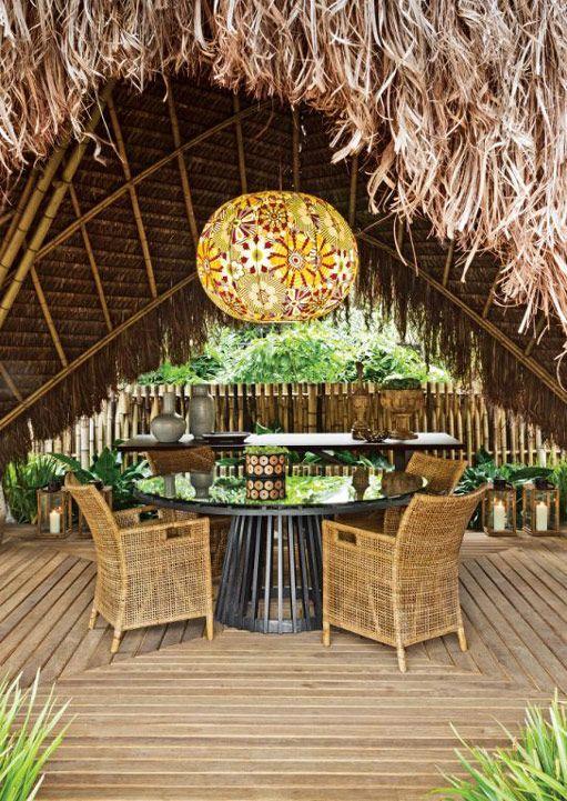 Decoração projeto praia área externa varanda jardim  mesa (Projeto