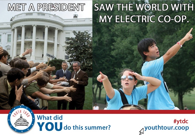 What did YOU do this summer? 1,600 students went to Washington, DC on the Electric Cooperative Youth Tour. Learn more at www.youthtour.coop & follow #ytdc.