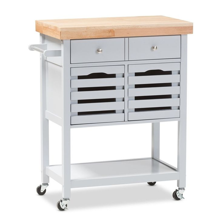 Light Grey and Wood Butcher Block, Kitchen Cart