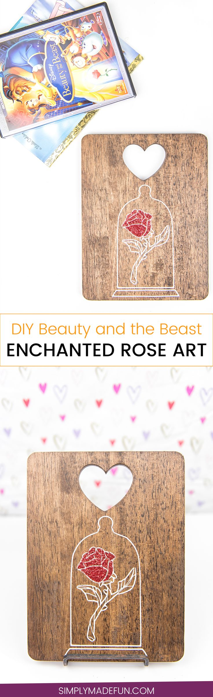 Beauty and the Beast Enchanted Rose Art - I've never been a fan of roses because they always die, but I am a big fan of vinyl roses! They're easy to make with a Silhouette machine, and if you add glitter it makes them look even better.