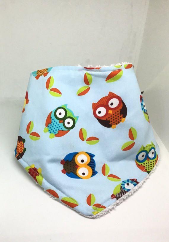 Owl baby bib owl baby gift bandana bib bandana bib boy