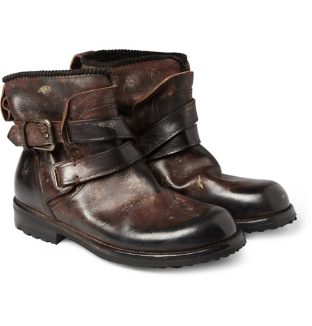 DISTRESSED-LEATHER BIKER BOOTS