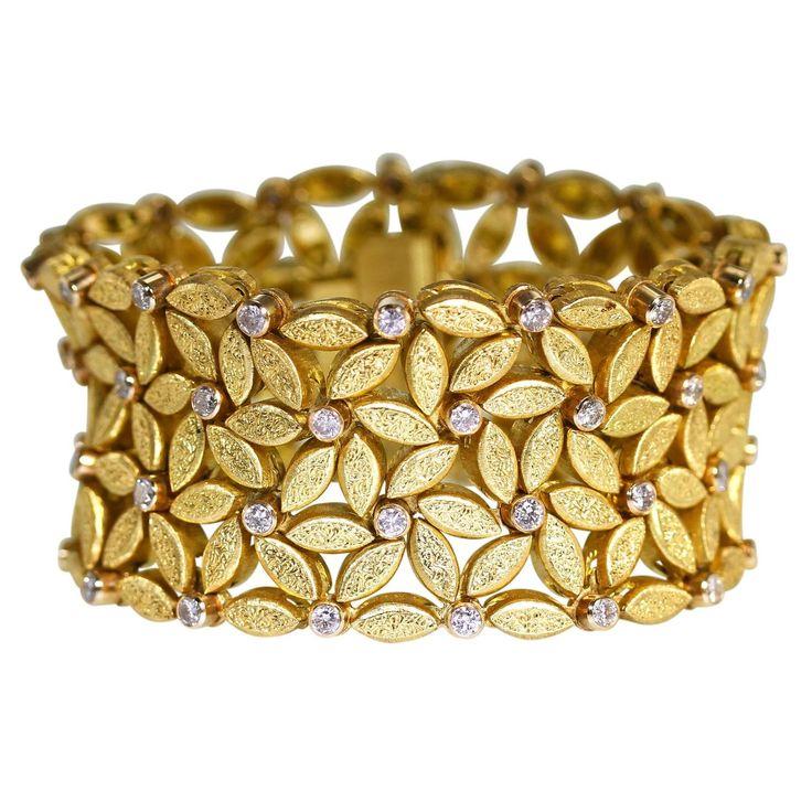 Buccellati Diamond Gold Wide Link Bracelet | From a unique collection of vintage link bracelets at https://www.1stdibs.com/jewelry/bracelets/link-bracelets/