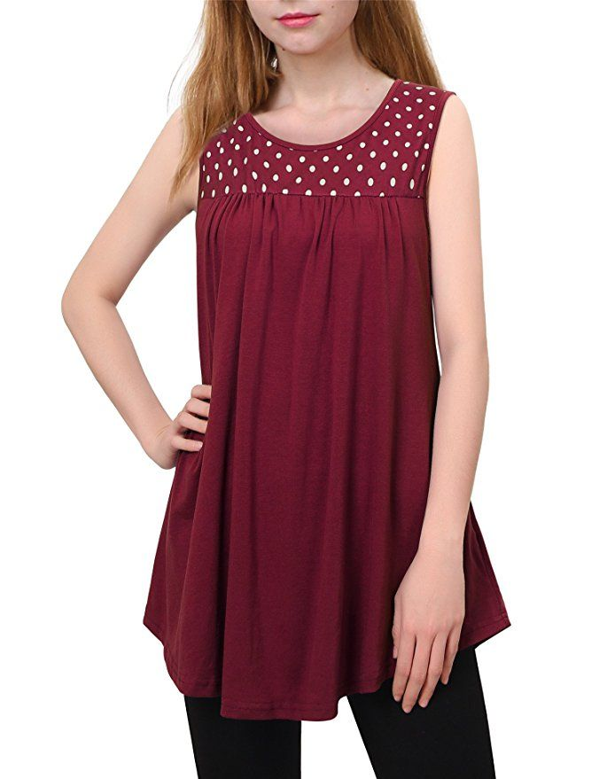 1b9ad18ad9d Messic Womens Sleeveless Pleated Front Flowy Scoop/V Neck Tunic Tanks Tops  at Amazon Women's
