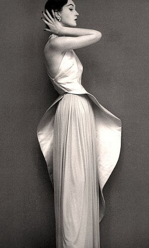 Dovima in an evening gown by Grès- Richard Avedon for Harper's Bazaar, 1950