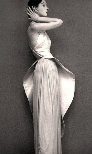 Dovima in an evening gown by Grès- Richard Avedon for Harper's Bazaar, 1950