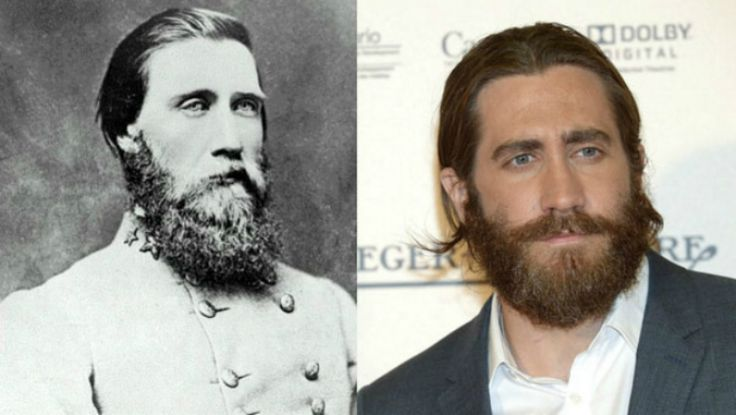 9. Part 2--LOOK ALIKES Ӂ JOHN BELL HOOD AND JAKE GYLLENHAAL Ӂ The latter was a promotion Jefferson Davis came to regret. Hood was an exceptional brigade commander and an able corps commander, but he lacked the experience to command an army. It likely never occurred to many readers that Hood's long face and sad eyes so closely resembled those of Brokeback Mountain star Jake Gyllenhaal. © U.S. Army/Getty Images