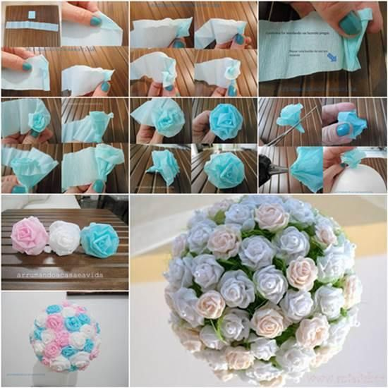 DIY Paper Crafts : How to DIY Beautiful Crepe Paper Flower Ball