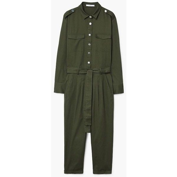 MANGO Snap long jumpsuit (€65) ❤ liked on Polyvore featuring jumpsuits, jump suit, drawstring waist jumpsuit, mango jumpsuit, long jumpsuits and green jumpsuits