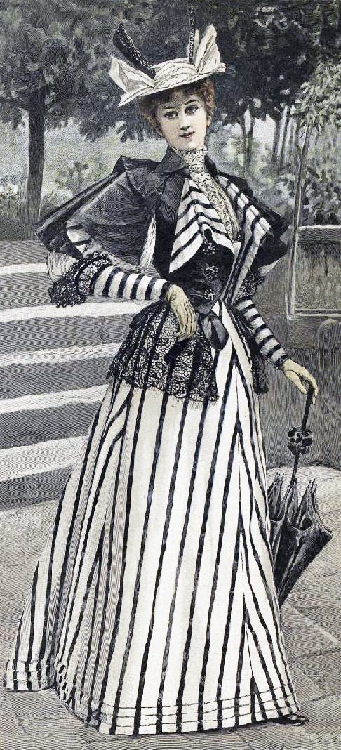 woman in black and white with sleeves of doom (1890's)