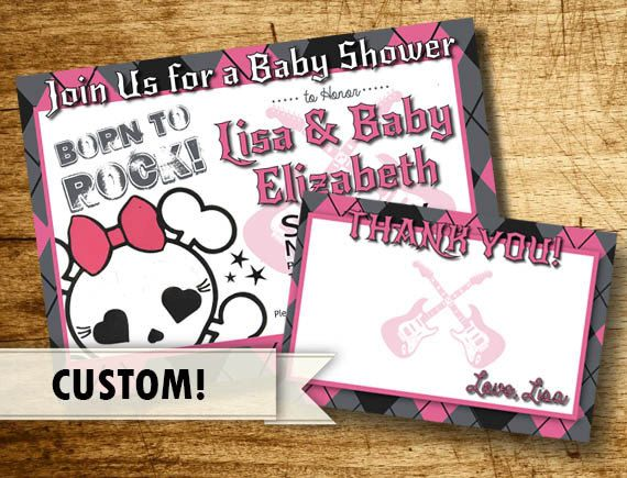 Rock and Roll Punk Rock Baby Shower by PaintedOwlCreative on Etsy, $15.00