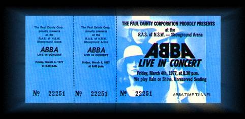 original ABBA concert ticket 1977 Australian tour