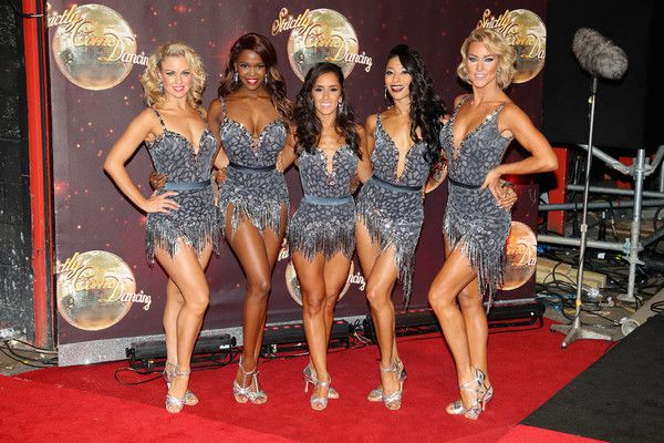 Professional dancers Joanne Clifton, Otlile Mabuse, Janette Manrara, Karen Clifton and Natalie Lowe arrive for the launch of 'Strictly Come Dancing 2016' at Elstree Studios on August 30, 2016 in Borehamwood, England.