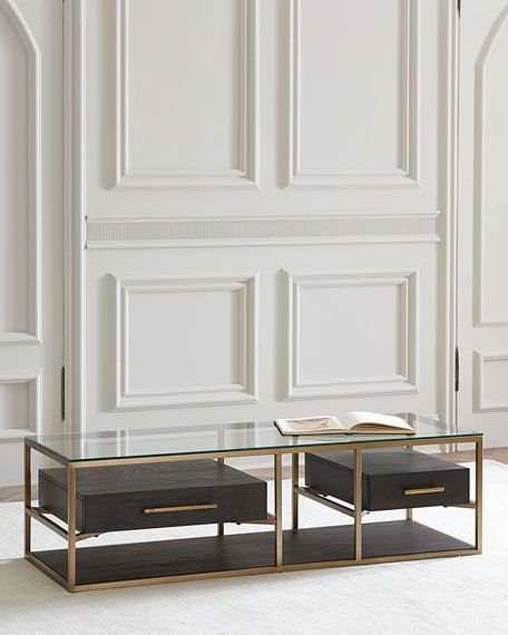 Hooker Furniture Vedetta Two Drawer Coffee Table Horchow Neiman Marcus One Shelf #HookerFurniture #HollywoodRegency