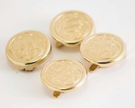 Vintage Tuxedo or Shirt Studs : Set of 4 Calligraphy Initial Front Buttons (Gold Toned Metal) Shirt, Cuff or Collar Studs, Father's Day