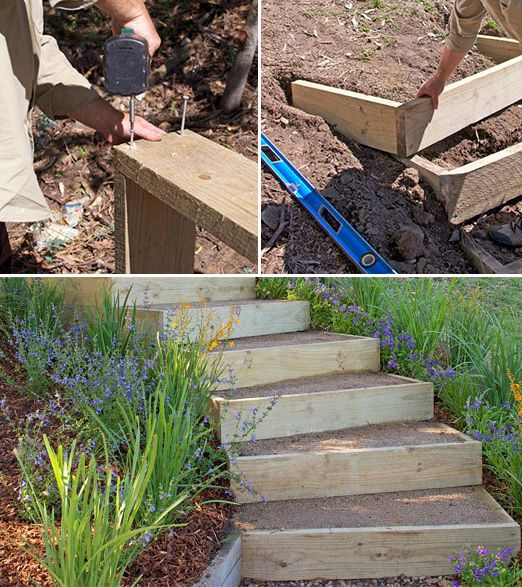 DIY Garden Steps & Stairs • Lots of ideas, tips & tutorials! Including, from 'bhg australia', they show how to build these outdoor stairs.