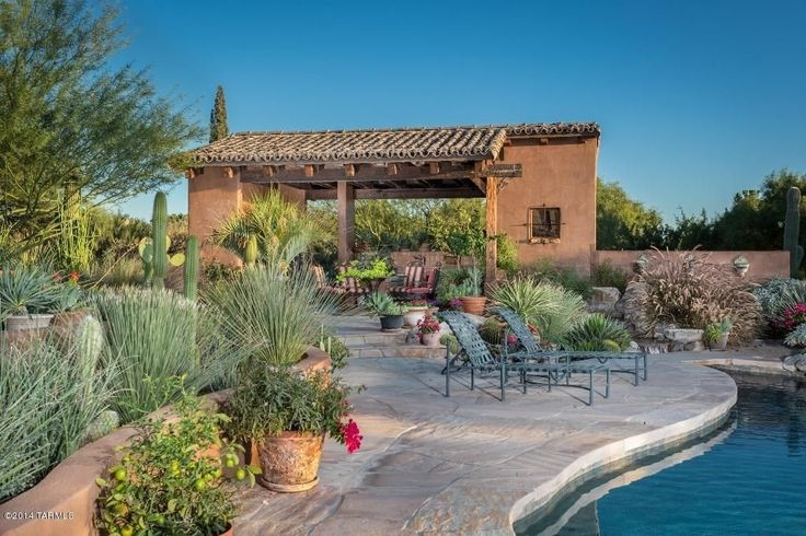 Southwestern Landscape/Yard with anta Fe Iron Multi Position Single Outdoor Chaise Lounge, Raised beds, Custom Stucco Wall
