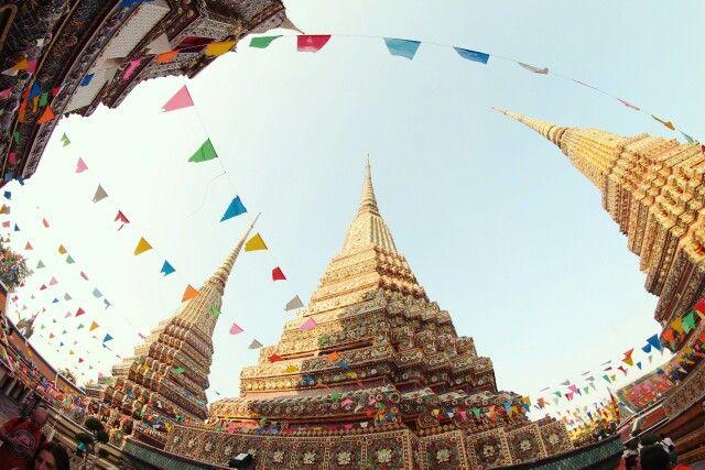Colorful paper in wat pho reclining budha temple of Bangkok