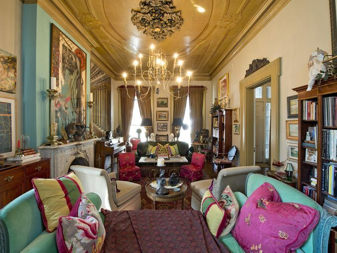 Take a peek in 'Millionaire's Row' homes. Photo: The living room with its ornately painted ceiling and chandelier in the home of Sharon Cook and Jim Weithofer, 847 Dayton Street, part of the Dayton Street Walking Tour. David Sorcher for The Enquirer