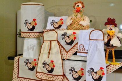 Itens para cozinha em bordado patchwork - galinha com barrado marrom