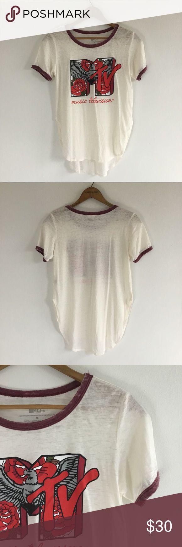 {MTV} Music Television Rose High Low Tee Shirt This shirt is new without tags. It has a small pull on the front. Otherwise in great condition. Size medium but runs small. MTV Tops Tees - Short Sleeve