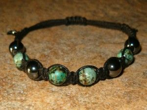 African Turquoise & Hematite Healing Energy Bracelet ~ The combination of African Turquoise and Hematite is grounding, stimulates tranquility, peace, reconciliation & reassurance, increases sensitivity & tolerance, gentle healing, soothing, calming, promotes prosperity, luck & fortitude and fosters creativity.  http://zenjewelry.mysticnaturals.com/african-turquoise-hematite-healing-energy-bracelet/