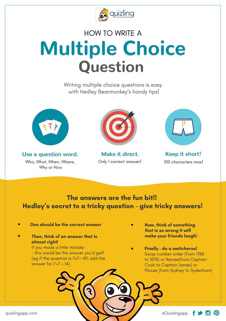 Creating Multiple Choice Questions is easy as 123! Hedley has some tips for you. Teachers ca use this in class to guide students too.