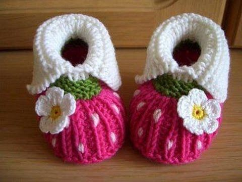 ▶ crochet booties - YouTube LOVE BABY SANDALS WITH PUFF STITCH FLOWER