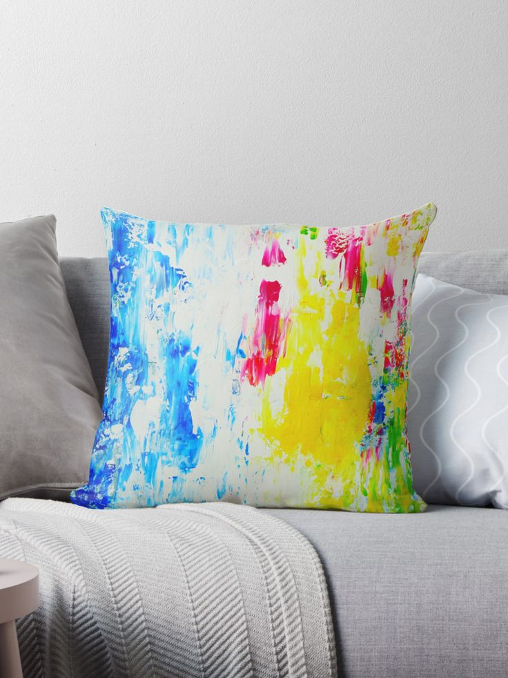Abstract Art Pillow, Square Pillow, Blue Pink White Yellow Pillow, Modern Home Decorative Pillow, Scatter Pillow, Pillow Case, Pillow Cover