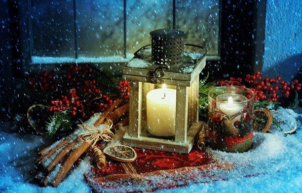 Фото обои корица, фонарь, Рождество, Новый год, снег, свечи