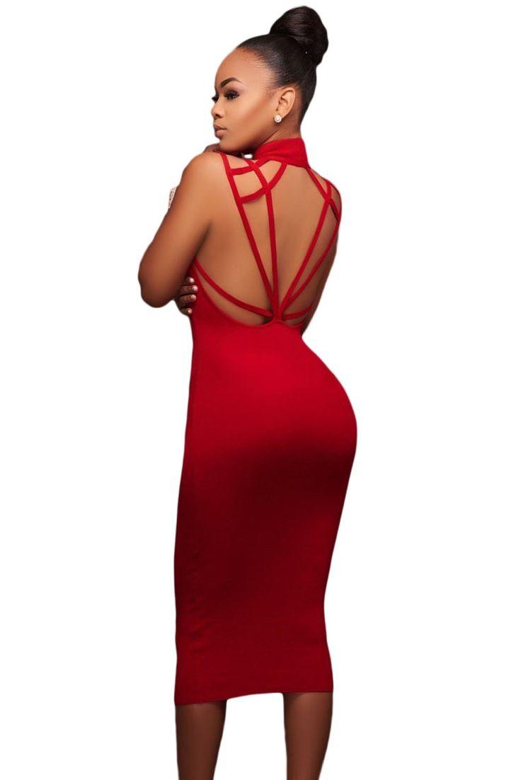 Sukienka czerwona ołówkowa midi odkryte plecy