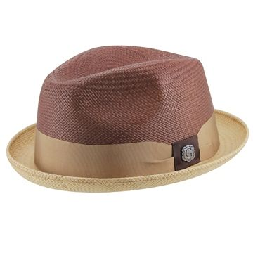 """OAK COMBINED, part of the WOOD Collection from BIGALLI, this hat has tons of style. Featuring a two tone all over panama body, 4"""" crown, 1 1/2"""" stingy brim, and wrapped in a stylish ribbon hat band finished with a BIGALI pin. Pair it with a great pair of shoes and you've got an outfit to impress."""