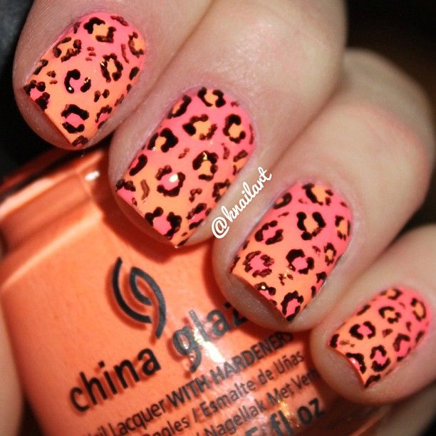 fun leopard print manicure for summer!