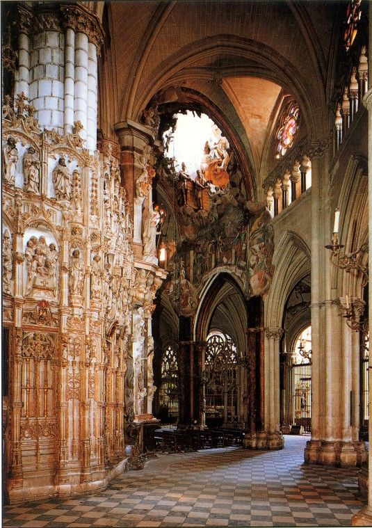 The cathedral of Toledo is one of the three 13th century High Gothic cathedrals in Spain and is considered to be the magnum opus[1] of the Gothic style in Spain. -would love to see in person