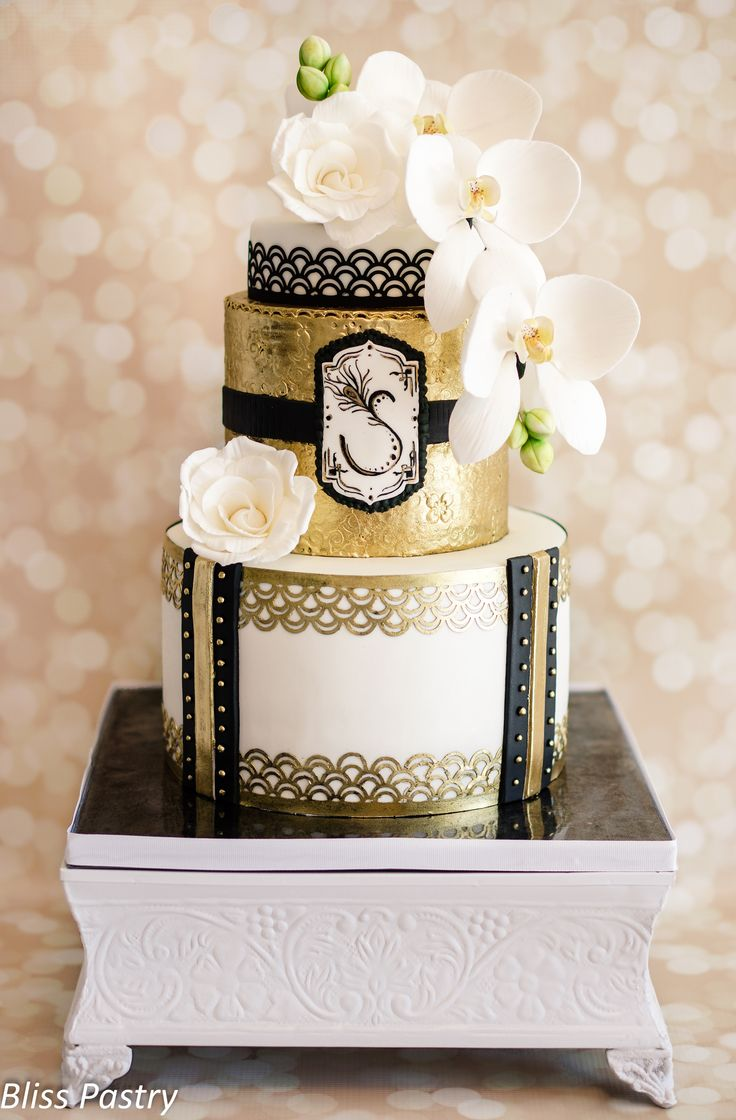 Art Deco Birthday Cake - Art deco inspired glamour in white, black and gold with roses and moth orchids