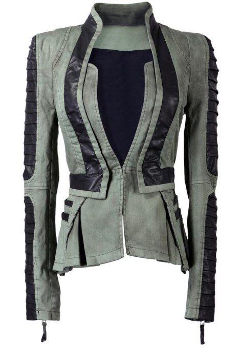 Lookbookstore Women Denim PU Leather Zip Sleeves Pleated Tuxedo Jacket Blazer