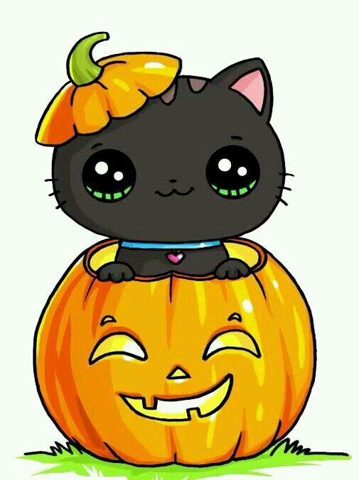 Halloween Kitten Draw So Cute In 2019 Kawaii Halloween Kawaii
