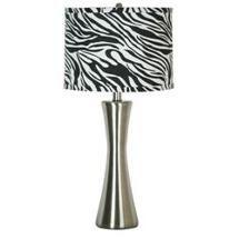 Walmart: Simple Designs LT3003 ZBA Brushed Steel Zebra Print Table Lamp