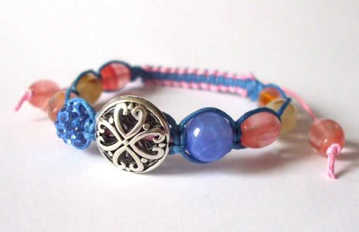 Blue and rose agate, watermelon tourmalin mineral bracelet Shamballa gemstone jewel Macrame Friendship bracelet Semi-precious Gift for her by dorijewelnook on Etsy
