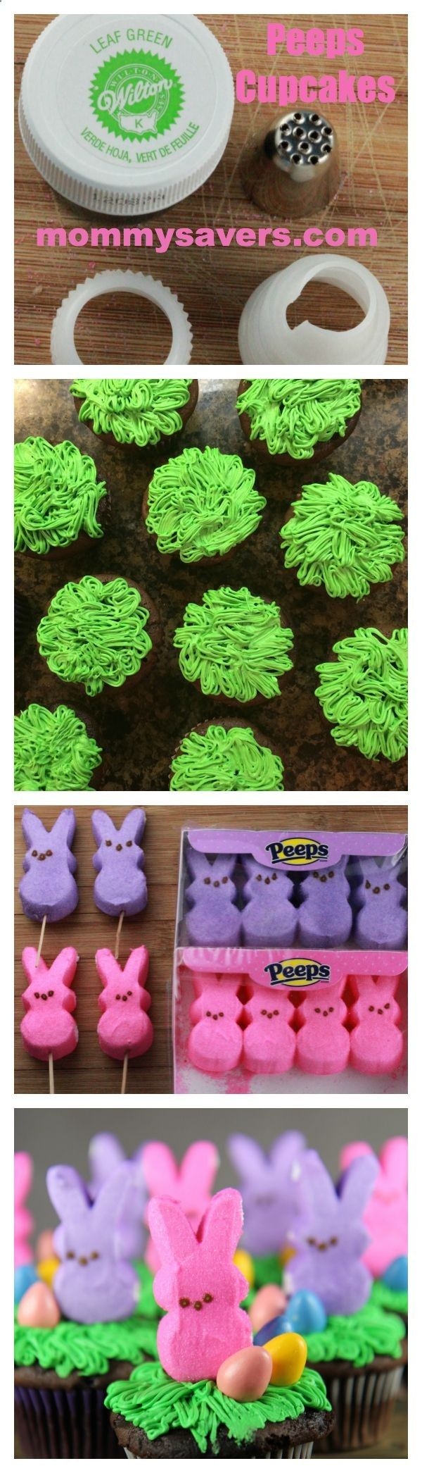 (Photo - from another catalog like Pinterest) Easter Peeps Cupcakes How to get the bunnies to stand up without falling over
