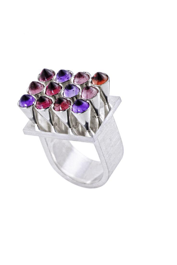 Ring:silver, garnet, amethyst, tourmaline www.gaalgyongyver.hu