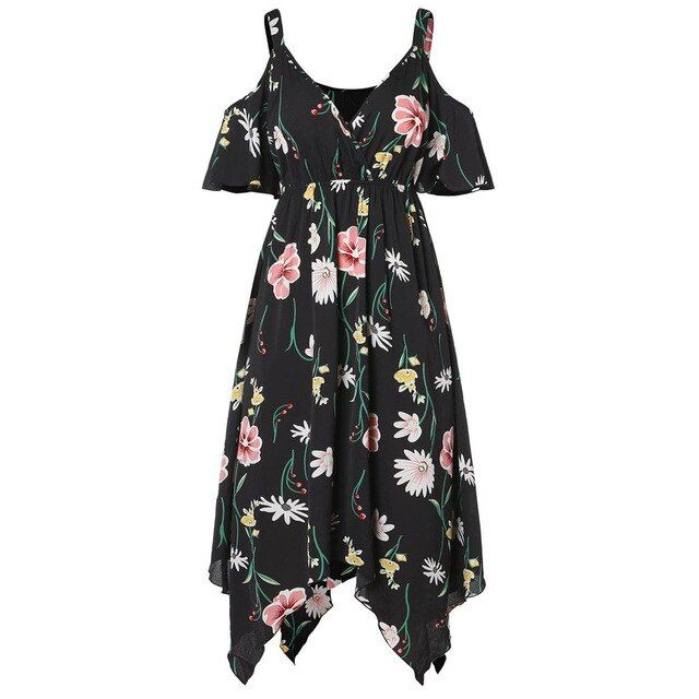 Dress women casual floral summer long dress cold shouder party night dress plus size vestidos robe femme 19a26 9